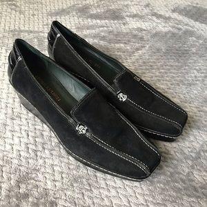 DONALD J. PLINER Black Leather Suede Shoes 8.5
